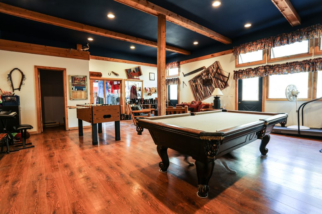 A view of the recreation barn's pool table