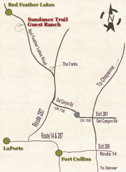 Colorado Dude Ranch Vacations Map to Sundance Trail Guest Ranch