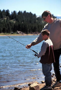 A father and son go fishing